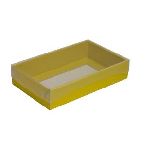 Darčeková krabička s priehľadným vekom 250x150x50/35 mm, žltá