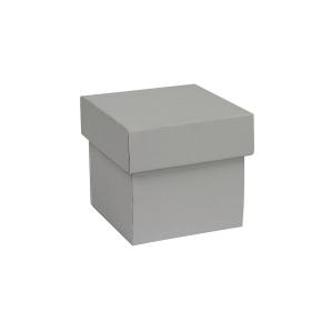 Darčeková krabička s vekom 100x100x100/35 mm, šedá matná