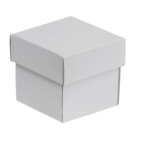 Darčeková krabička s vekom 100x100x100/40 mm, biela