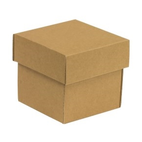 Darčeková krabička s vekom 100x100x100/40 mm, hnedá - kraft