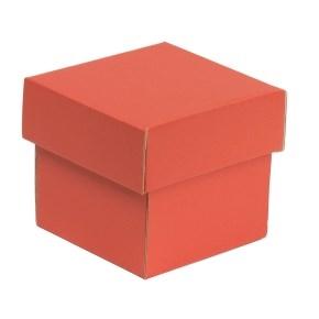Darčeková krabička s vekom 100x100x100/40 mm, koralová