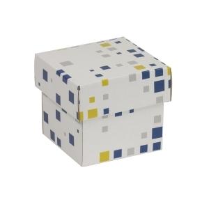 Darčeková krabička s vekom 100x100x100/40 mm, VZOR - KOCKY modrá/žltá