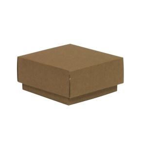 Darčeková krabička s vekom 100x100x50/40 mm, hnedá - kraft