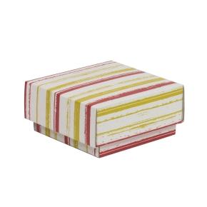 Darčeková krabička s vekom 100x100x50/40 mm, VZOR - PRUHY koralová/žltá