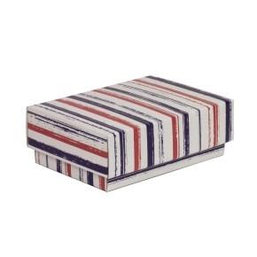 Darčeková krabička s vekom 150x100x50/40 mm, VZOR - PRUHY fialová/koralová