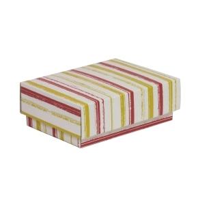 Darčeková krabička s vekom 150x100x50/40 mm, VZOR - PRUHY koralová/žltá