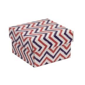 Darčeková krabička s vekom 150x150x100 mm, VZOR - CIK CAK fialová/koralová