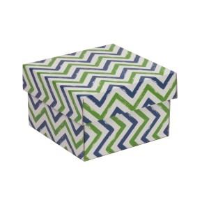 Darčeková krabička s vekom 150x150x100 mm, VZOR - CIK CAK zelená/modrá