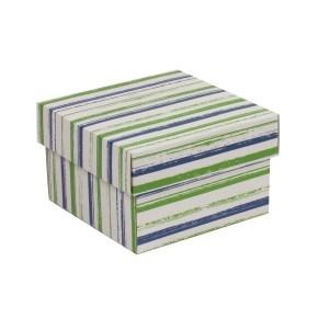 Darčeková krabička s vekom 150x150x100 mm, VZOR - PRUHY zelená/modrá