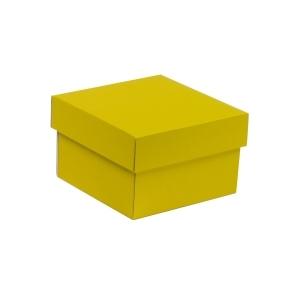 Darčeková krabička s vekom 150x150x100 mm, žltá