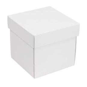 Darčeková krabička s vekom 150x150x150 mm, biela