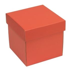 Darčeková krabička s vekom 150x150x150 mm, koralová