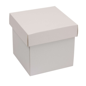 Darčeková krabička s vekom 150x150x150 mm, sivá
