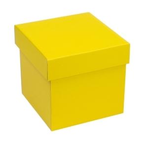 Darčeková krabička s vekom 150x150x150 mm, žltá