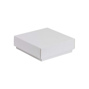 Darčeková krabička s vekom 150x150x50/40 mm, biela