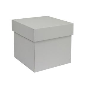 Darčeková krabička s vekom 180x180x180/50 mm, šedá matná