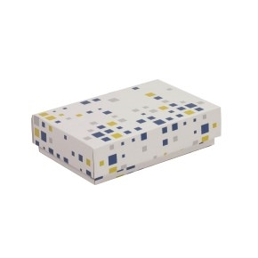 Darčeková krabička s vekom 200x125x50 mm, VZOR - KOCKY modrá/žltá