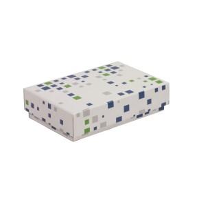 Darčeková krabička s vekom 200x125x50 mm, VZOR - KOCKY zelená/modrá
