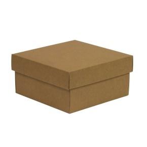 Darčeková krabička s vekom 200x200x100/40 mm, hnedá - kraft
