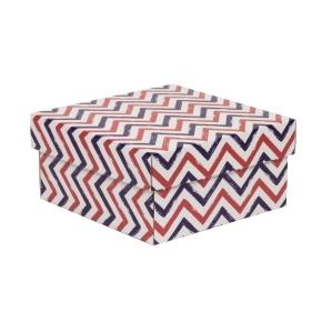 Darčeková krabička s vekom 200x200x100/40 mm, VZOR - CIK CAK fialová/koralová
