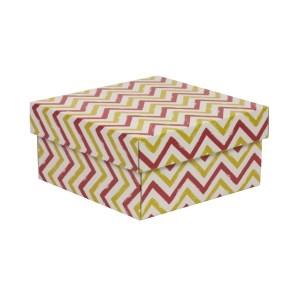 Darčeková krabička s vekom 200x200x100/40 mm, VZOR - CIK CAK koralová/žltá