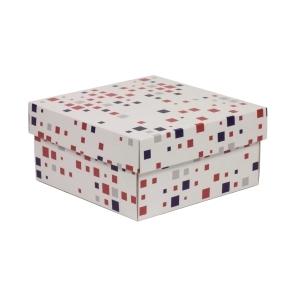 Darčeková krabička s vekom 200x200x100/40 mm, VZOR - KOCKY fialová/koralová