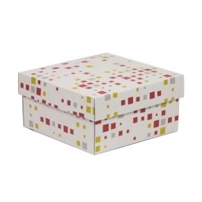 Darčeková krabička s vekom 200x200x100/40 mm, VZOR - KOCKY koralová/žltá