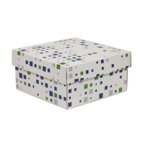 Darčeková krabička s vekom 200x200x100/40 mm, VZOR - KOCKY zelená/modrá