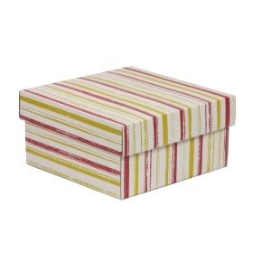 Darčeková krabička s vekom 200x200x100/40 mm, VZOR - PRUHY koralová/žltá