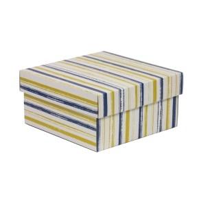 Darčeková krabička s vekom 200x200x100/40 mm, VZOR - PRUHY modrá/žltá