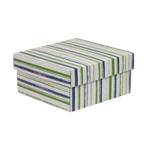 Darčeková krabička s vekom 200x200x100/40 mm, VZOR - PRUHY zelená/modrá