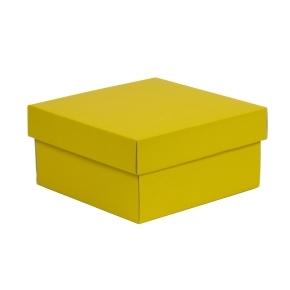 Darčeková krabička s vekom 200x200x100/40 mm, žltá