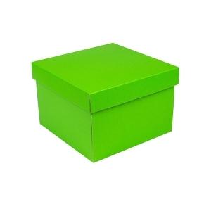 Darčeková krabička s vekom 200x200x140/35 mm, zelená matná