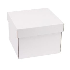 Darčeková krabička s vekom 200x200x150 mm, biela