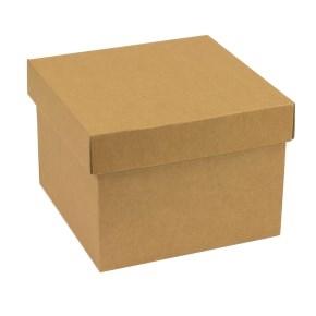 Darčeková krabička s vekom 200x200x150 mm, hnedá - kraft