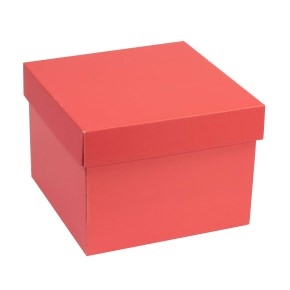 Darčeková krabička s vekom 200x200x150 mm, koralová