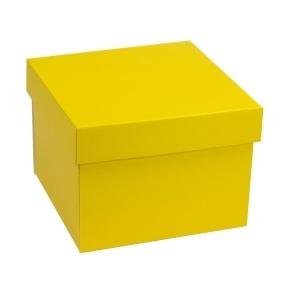 Darčeková krabička s vekom 200x200x150 mm, žltá