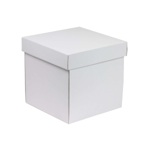 Darčeková krabička s vekom 200x200x200 mm, biela