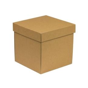 Darčeková krabička s vekom 200x200x200 mm, hnedá - kraft