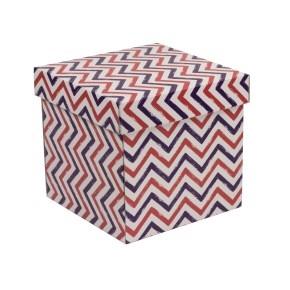 Darčeková krabička s vekom 200x200x200 mm, VZOR - CIK CAK fialová/koralová