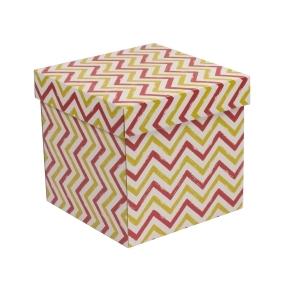 Darčeková krabička s vekom 200x200x200 mm, VZOR - CIK CAK koralová/žltá