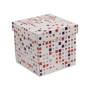 Darčeková krabička s vekom 200x200x200 mm, VZOR - KOCKY fialová/koralová
