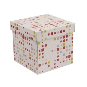 Darčeková krabička s vekom 200x200x200 mm, VZOR - KOCKY koralová/žltá
