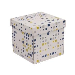 Darčeková krabička s vekom 200x200x200 mm, VZOR - KOCKY modrá/žltá