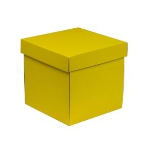 Darčeková krabička s vekom 200x200x200 mm, žltá
