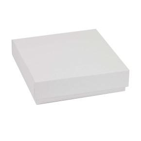 Darčeková krabička s vekom 200x200x50 mm, biela
