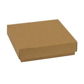 Darčeková krabička s vekom 200x200x50 mm, hnedá - kraft