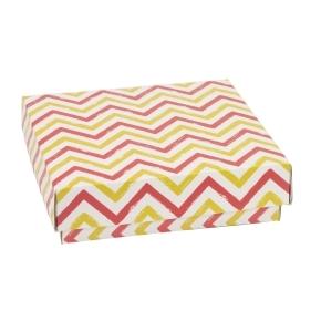Darčeková krabička s vekom 200x200x50 mm, VZOR - CIK CAK koralová/žltá
