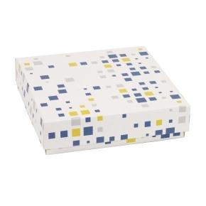 Darčeková krabička s vekom 200x200x50 mm, VZOR - KOCKY modrá/žltá