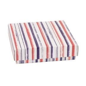 Darčeková krabička s vekom 200x200x50 mm, VZOR - PRUHY fialová/koralová